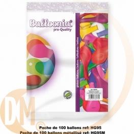 Poche de 100 ballons classique ou métal