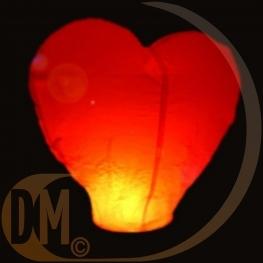Lanterne volante coeur rouge