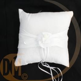 Coussin porte alliances blanc fleur organza