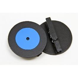 Disque musique 33 tours sur pince bois (x2)