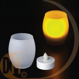 Photophore avec bougie à LED couleur flamme