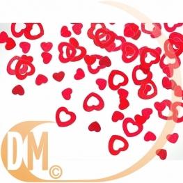 Confettis de table métallique coeur rouge