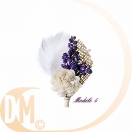 Boutonnière avec bouquet de fleur par 2