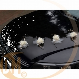 Roses blanches pour décoration de voiture