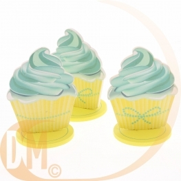 Lot de 3 centres de table Cupcake 10 cm