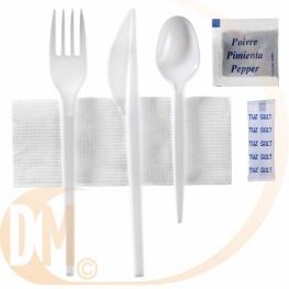 Sachet couverts plastique blanc