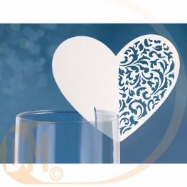 marque place coeur pour verre par 10