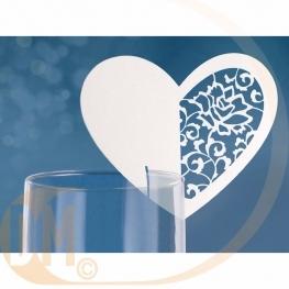 Marque place pour verre forme coeur par 10