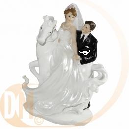 Figurine couple de mari�s sur cheval