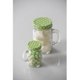 Pots en verre avec bouchon pois vert
