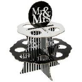 Pr�sentoir Mr & Mrs � boules 5 cm, blanc et noir