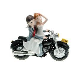 Couple mariés sur moto noire