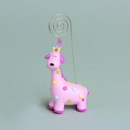 Porte photo Girafe rose