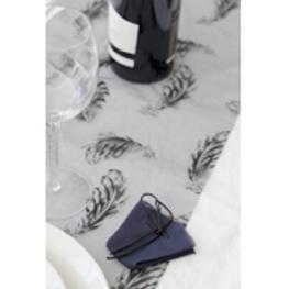 chemin de table organza noir plume paillet�e argent 30 cm x 5 m