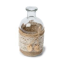 Vase déco bohème jute et dentelle