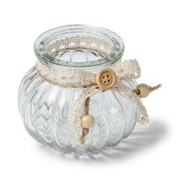 Vase verre � l\\\'ancienne liens dentelles