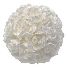 Boule de rose mousse blanche