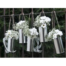 Boite de conserve Argent pour fleurs a suspendre x 5 pièces