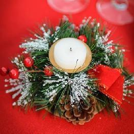 Bougeoir Noël traditionnel rouge