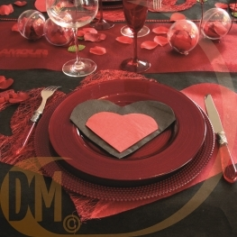 Serviette de table coeur par 20